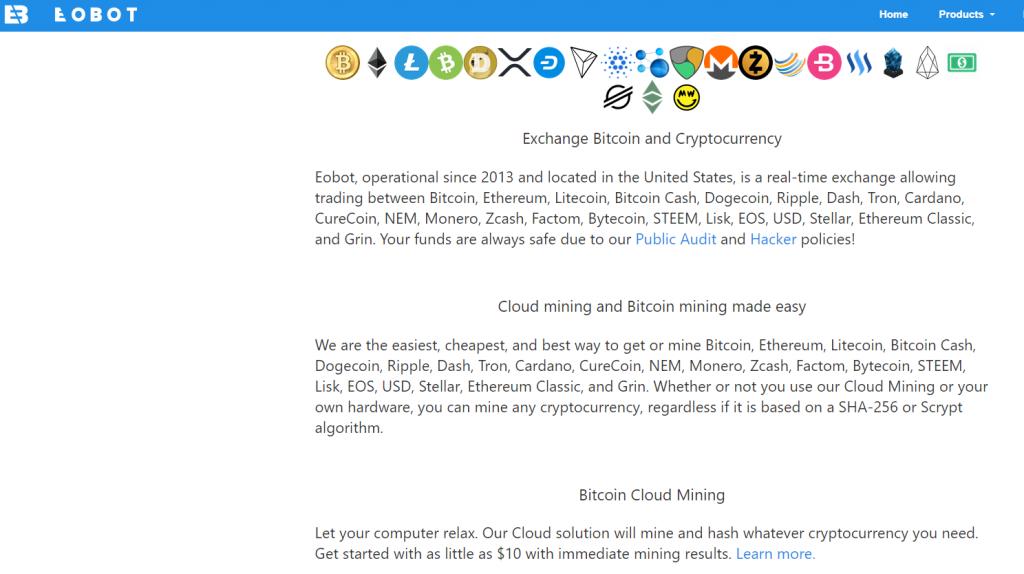Облачный майнинг eobot - скриншот вебсайта